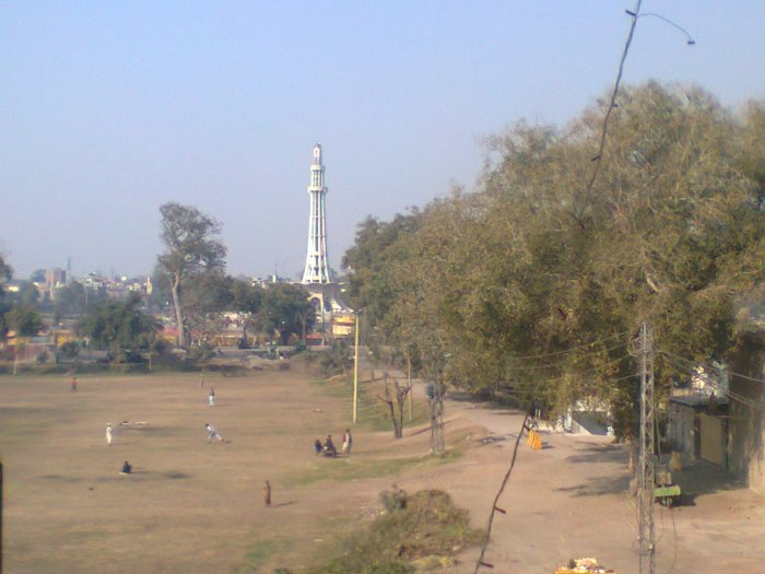 Minar-e-Pakistan in the distance